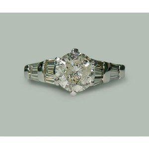 1.77 carat Round  baguette diamonds engagement rin